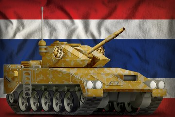 light tank apc with desert camouflage on the Thailand national flag background. 3d Illustration