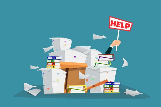 Businessman in pile of office papers and documents with help sign. Overwork. Cartoon style.