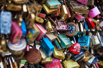 Close-up of the Love locks at Pont Neuf in Paris