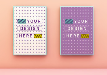 2 Blue Framed Posters on Peach Wall Mockup