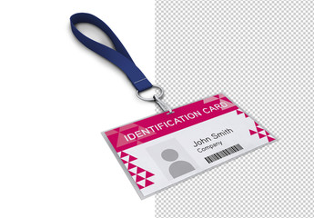 ID Badge with Neck Strap Mockup