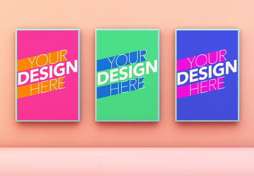 3 Framed Posters on Peach Wall Mockup