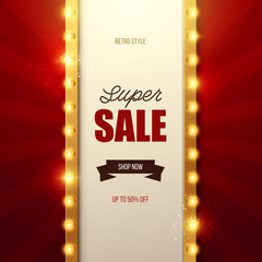 Retro light sign. Vintage sale banner. Vector illustration.