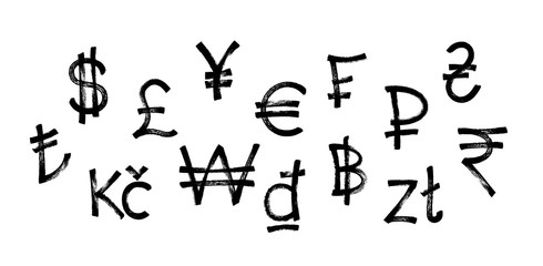 World currency icons set. Black graffiti symbol of currency over white background. Vector illustration.