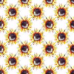 Beautiful bright graphic autumn wonderful colorful yellow orange herbal floral sunflowers geometric pattern