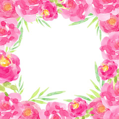 frame watercolor hand-drawn pink flowers green leaves isolated on white background