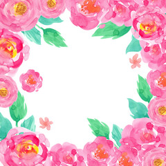 frame watercolor hand-drawn pink flowers rose green leaves isolated on white background