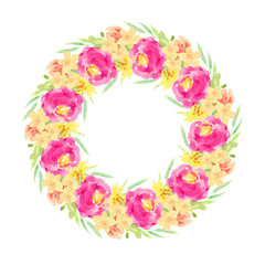 round frame watercolor hand-drawn pink, yellow flowers, green leaves isolated on white background