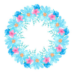 round frame watercolor hand-drawn pink, blue flowers, daisies, green leaves isolated on white background