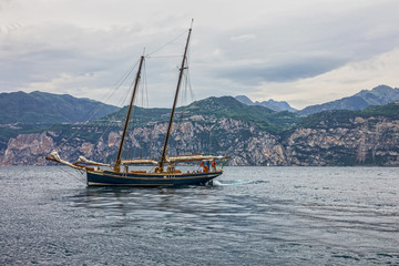 Yacht on Como lake, Italy, Lombardy