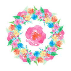 round frame watercolor hand-drawn pink, yellow, blue flowers, green leaves isolated on white background