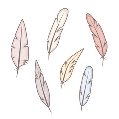 Set of abstract bright feathers on white background. Wild and free. Hand drawn vector illustration.