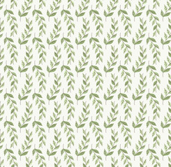 Abstract Seamless Pattern with Green Leaves. Vector Leaf Fashion Texture.
