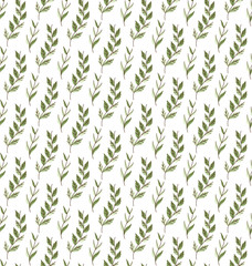 Vector Green Floral Seamless Pattern. Decorative Plant Background. Fabric Ornament texture with leaves and flowers.