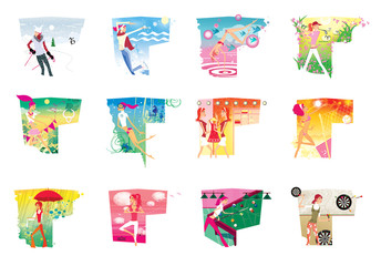Zodiac sports lady. A set of 12  images of a young girl in a zodiac sign on a complex background.