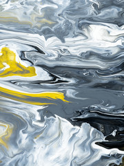 Black and white with gold marble abstract hand painted background
