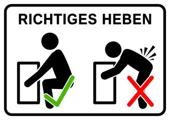 nbss1 NewBigSafetySign nbss - RICHTIGES HEBEN: falsch und richtig - Beim Heben von schweren Lasten in die Knie gehen - Rücken- und Bauchmuskeln anspannen - safe lifting - DIN A2 A3 A4 - xxl g6406