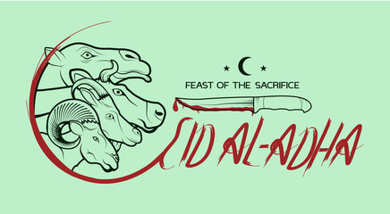 Background on Eid al-Adha. Camel, cow, sheep and goat with a knife. Lettering. Postcard, poster, greeting, for clothes, print.
