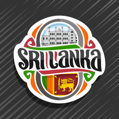 Vector logo for Sri Lanka country, fridge magnet with sri lankan state flag, original brush typeface for words sri lanka and national srilankan symbol - Dewatagaha mosque in Colombo on sky background.