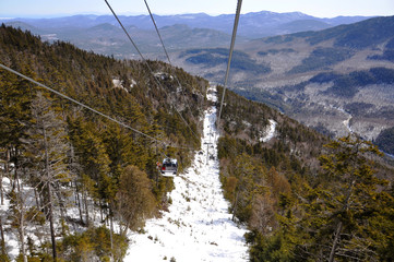 Gondola on Whiteface Mountain Ski Area, the official ski area for 1932 and Adirondack Mountains, New York, USA.