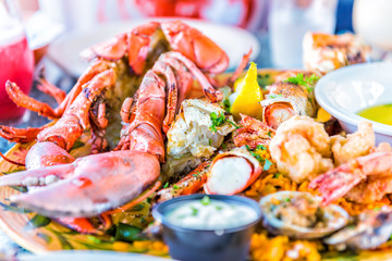 Macro closeup of whole lobsters in shell and seafood platter on plate with tartar sauce, garlic butter, shrimp tempura, crab meat, lemon, drinks, food
