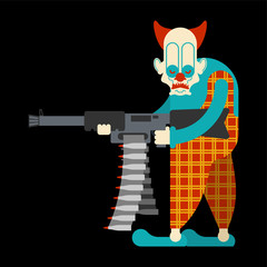 Scary clown with machine gun. Terrible eyes. nightmare Vector illustration