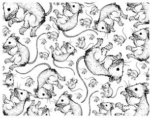 Autumn Animal, Illustration Wallpaper Background of Hand Drawn of Field Mices. Symbolic Animal to Show The Signs of Autumn Season.