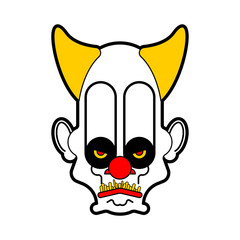 Scary clown evil head. Terrible eyes. Vector illustration