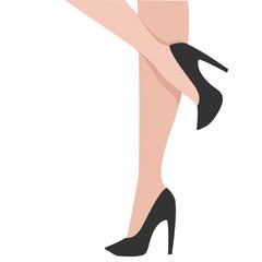 Woman legs in black shoes