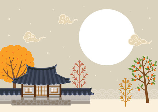 Full moon with Korean traditional house landscape.Mid autumn festival(Chuseok)background