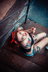 young alternative tattoo woman pin up. Beauty portrait  top view