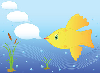 Goldfish in the sea. Goldfish for three wishes, messages. Vector format and jpg.