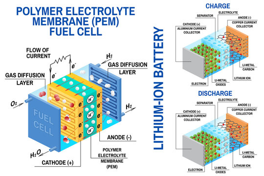 Fuel cell and Li-ion battery diagram. Vector. Device that converts chemical potential energy into electrical energy.