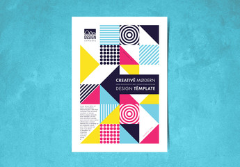 Flyer Layout with Colorful Geometric Elements