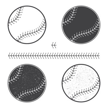 Set of baseball icon and seam. Vector illustration. Baseball seam brushes.