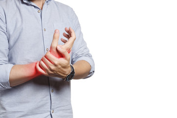 Man suffering from wrist pain, isolated on white background