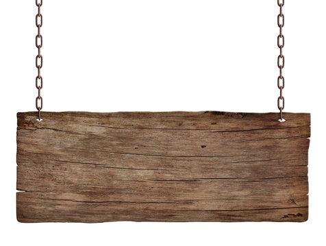 old weathered wood sign isolated on white background 3