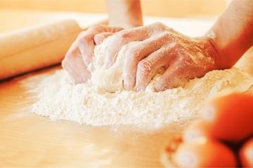 Hands cooking pie