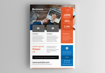 Business Flyer Layout with Orange and Blue Accents