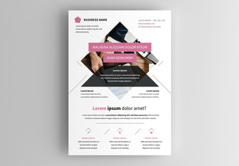 Business Flyer Layout with Pink and Black Accents