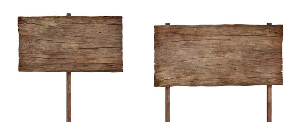 old weathered wood sign isolated on white background 4