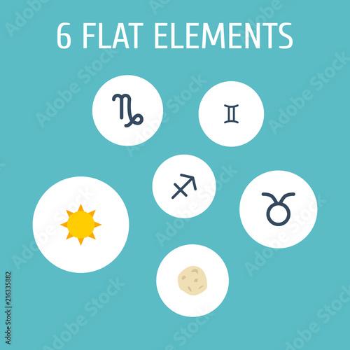 Set Of Galaxy Icons Flat Style Symbols With Sun Gemini Taurus And