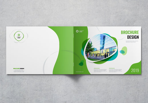 Landscape Cover Layout with Green and Blue Elements