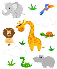 Jungle animal vector cartoon illustration