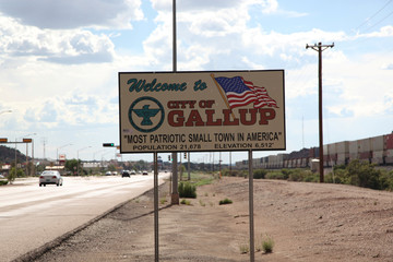 A sign marks the entrance to Gallup