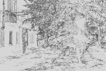 City landscape of small town with houses, trees and grass in the style of a pencil drawing. Monochrome three-color vector in grayscale