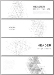 The minimalistic vector illustration of editable layout of headers, banner design templates in popular formats. Polygonal background with triangles, connecting dots and lines. Connection structure