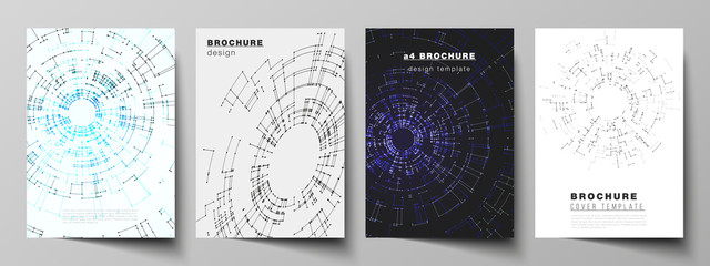 The vector layout of A4 format cover mockups design templates for brochure, flyer, booklet, report. Network connection concept with connecting lines and dots. Technology design, geometric background