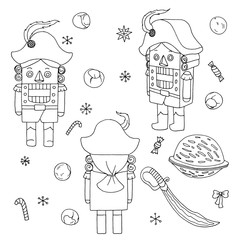Vintage children's wood christmas toy Nutcracker sketch clip art stickers set vector isolated