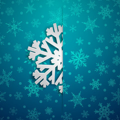 Christmas illustration with one white big snowflake which protrudes from the cut on a snowy background in light blue colors